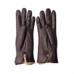 Ladies Leather Gloves with Rex Rabbit Fur in Brown