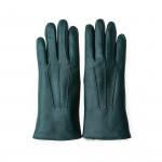 Ladies Leather Gloves with Rex Rabbit Fur in Dark Green