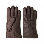Men's Cashmere Lined Peccary Leather Gloves -Moro