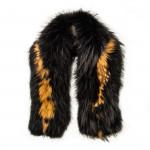 Maria Raccoon Fur Scarf - Black/Camel
