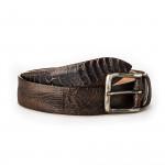 Men's Ostrich Leg Leather Belt - Brown/ Black