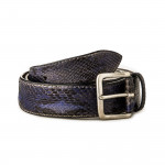 Men's Python Leather Belt - Navy