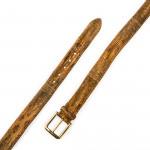 Men's Lizard Leather Belt in Cognac