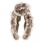Ladies Fur Detail Scarf -  Beige