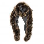 Ladies Fur Detail Scarf -  Charcoal