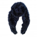 Ladies Fur Detail Scarf in Navy