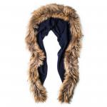 Ladies Fur Detail Scarf in Navy