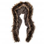 Ladies Fur Detail Scarf in Moss
