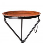 Hand Stitched Leather Covered Folding Table in Brown