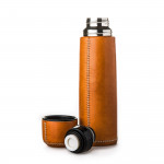 Hand Stitched Leather Covered Thermos in Natural