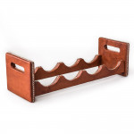 Hand Stitched Leather Covered Bottle Rack in Brown