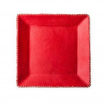 Hand Stitched Leather Covered Tray in Red