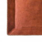 Hand Stitched Leather Covered Tray in Brown