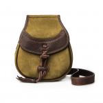 Leather & Fur Hand Warming Bag - Verde