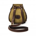 Leather & Fur Hand Warming Bag in Verde