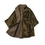 Ladies Reversible Cape in Olive Herringbone