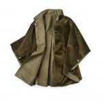 Ladies Reversible Cape in Green Herringbone