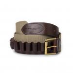 12 Gauge Cartridge Belt in Sand Canvas and Dark Tan