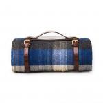 Wool Travel Blanket - Blue/Charcoal