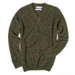 Rora Cashmere V neck Sweater in Loden