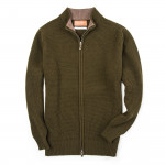 Bowland Zip Cardigan in Field Green with Clay