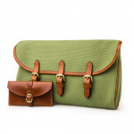 Redfern Cleaning Pouch with Accessories in Safari Green & Mid Tan