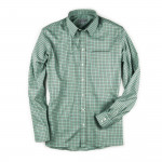 Men's Deluxe Tattersall Shirt in Green with Red