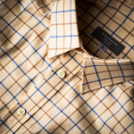 Men's Deluxe Tattersall Shirt in Blue/Brown Check