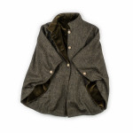 Reversible Short Cloak - Green and Black Tweed