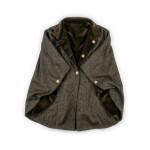 Reversible Short Cloak in Green and Black Tweed