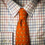 Silk Partridge Tie in Rust Orange