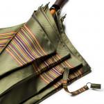 Multi Stripe Umbrella with Leather Handle