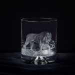 Hand Engraved Crystal Glass - Lion