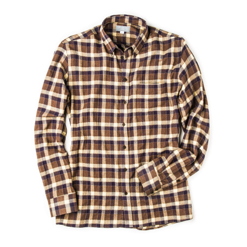 Men's Fine Cotton Shirt in Blue Buffalo Check